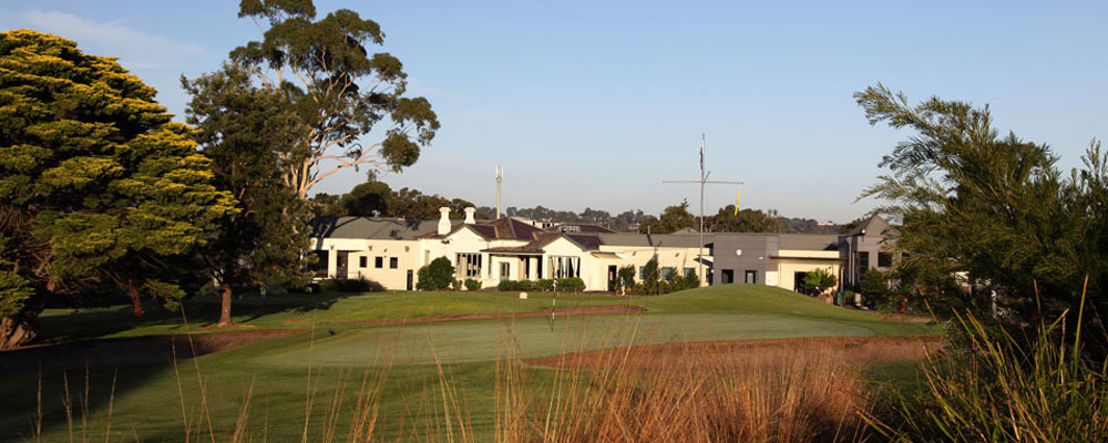 18th green and clubhouse